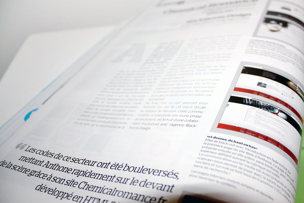 Article sur le site internet d'Anthone.fr dans Webdesign Mag #34