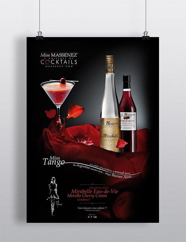 Création publicitaire pour un cocktail Miss Massenez