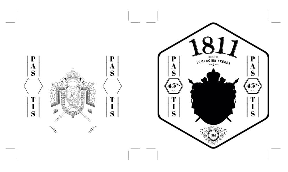 Gaufrage et dorure - étiquette et contre-étiquette Pastis 1811