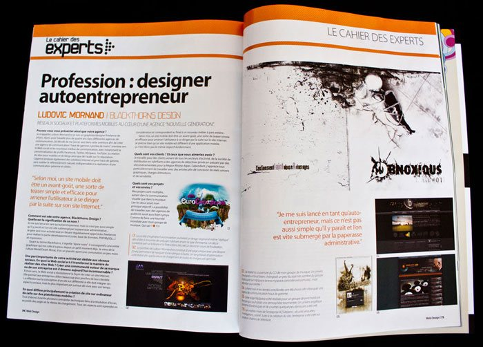 Interview : Designer auto-entrepreneur. Magazine Webdesign Mag #24