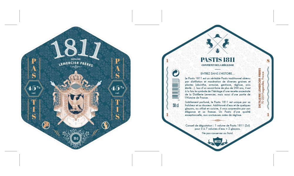 Étiquette et contre-étiquette Apéritif Pastis 1811