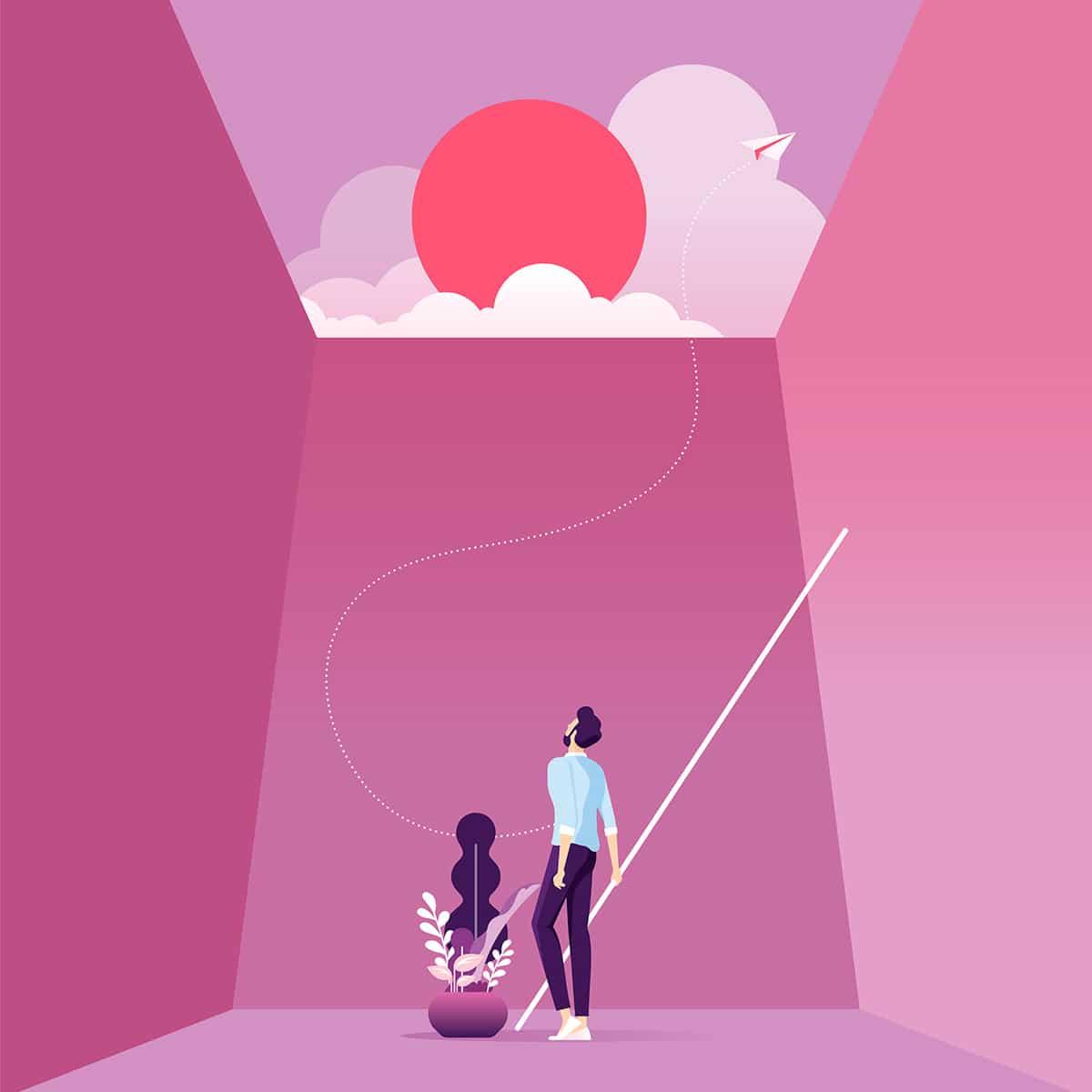 Illustration Flat Moderne - Homme regardant le soleil