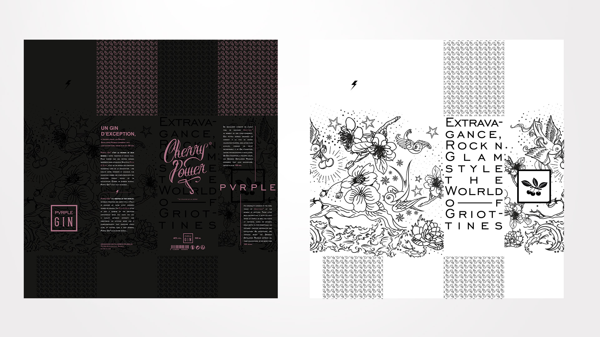 Gabarit Packaging design Pvrple Gin
