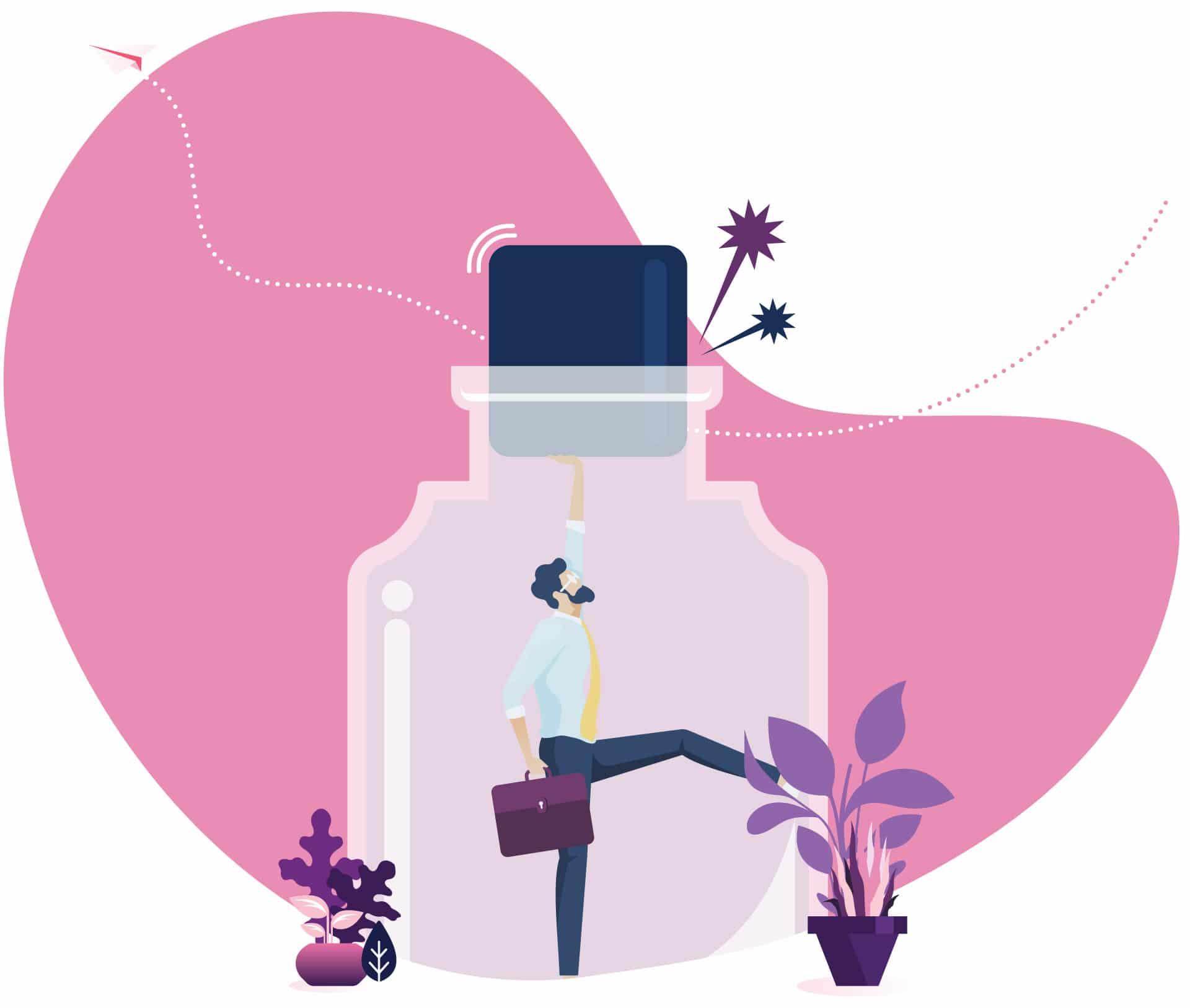 Illustration flat - Homme sortant d'une bouteille