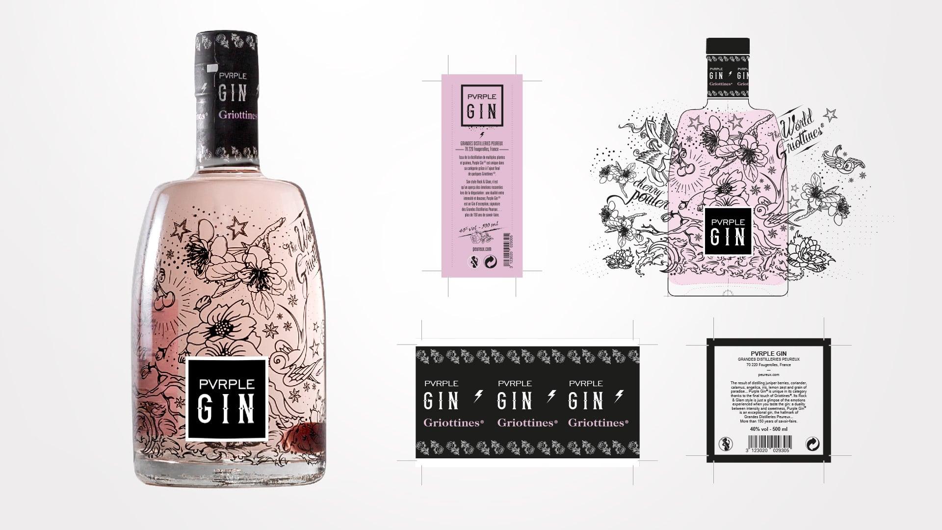 Bottle design Pvrple Gin