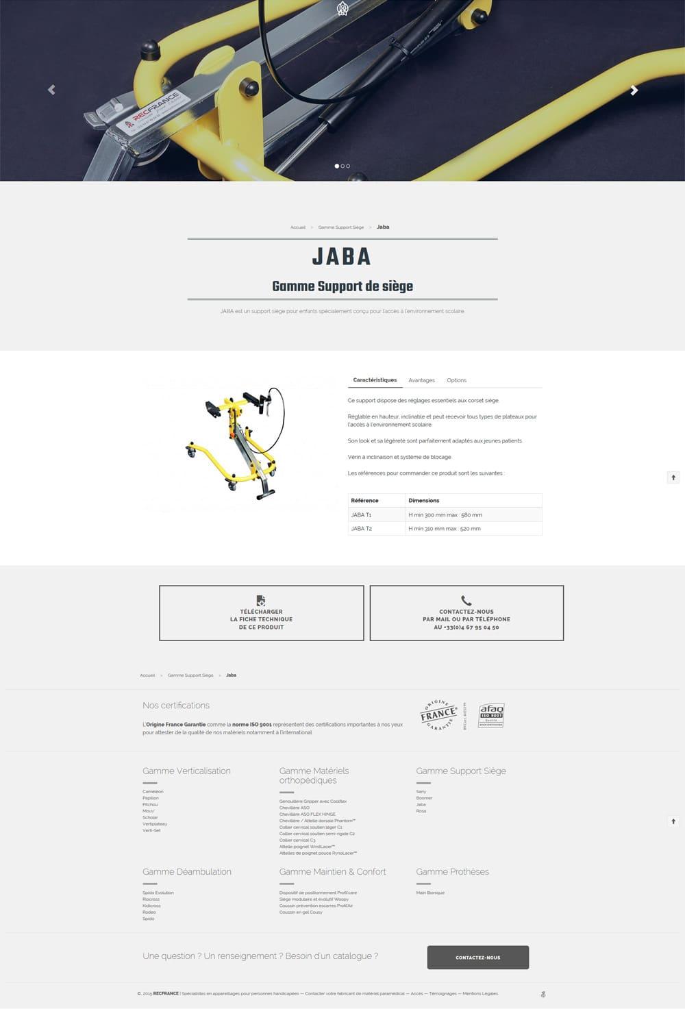 Modern webdesign - fiche produit