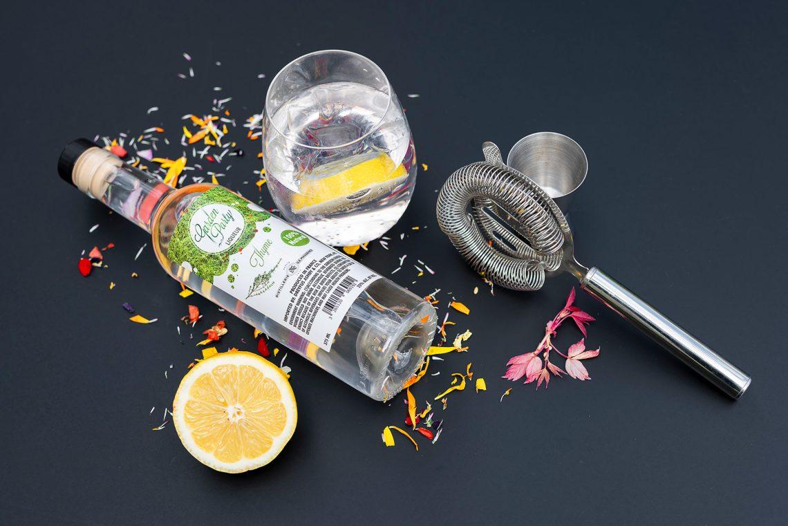 Composition cocktail avec Liqueur de Thym Garden Party