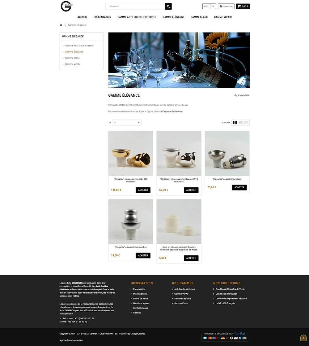 Site E-Commerce Prestashop - Anti-Gouttes Genthon®