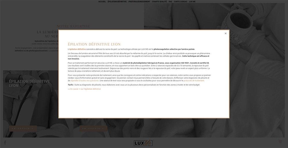Création site Internet - Centre esthétique Lyon 2