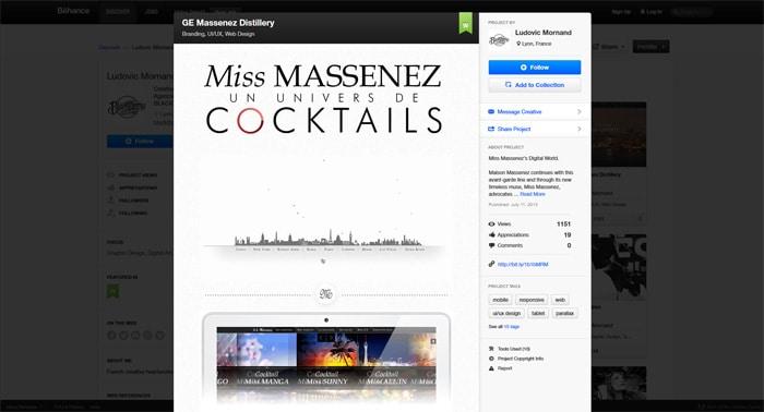 Projet Massenez mis en vedette sur Webdesign Served Site du réseau social Behance le 1er novembre 2013.